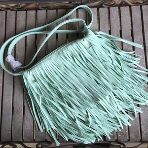 Amazing Mint Green Fully Fringed Purse